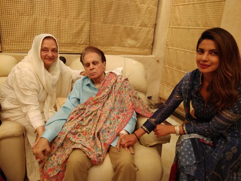 priyanka chopra visits dilip kumar and saira banu at their home