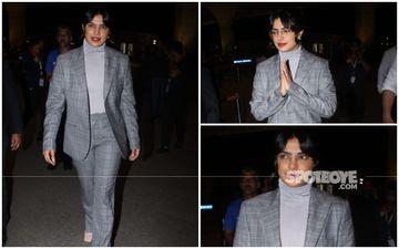 FASHION CULPRIT OF THE DAY: Priyanka Chopra Jonas, Is That You In That Oddly Sized Boring Grey Suit?