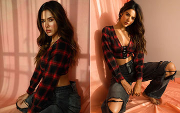 Punjabi Diva Sonam Bajwa Looks Ravishing in Plaid Crop Top and Ripped Jeans- SEE PICS