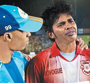sreesanth during kings 11 mumbai indians match