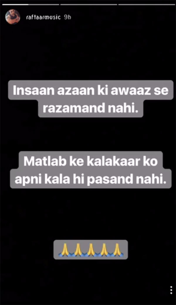 raftaar takes a dig at sonu nigam by posting on the azaan controversy