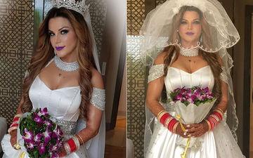 NRI से गुपचुप तरीके से शादी रचाने वाली राखी सावंत ने शेयर की पहली तस्वीर, क्रिश्चन दुल्हन बनी आई नज़र