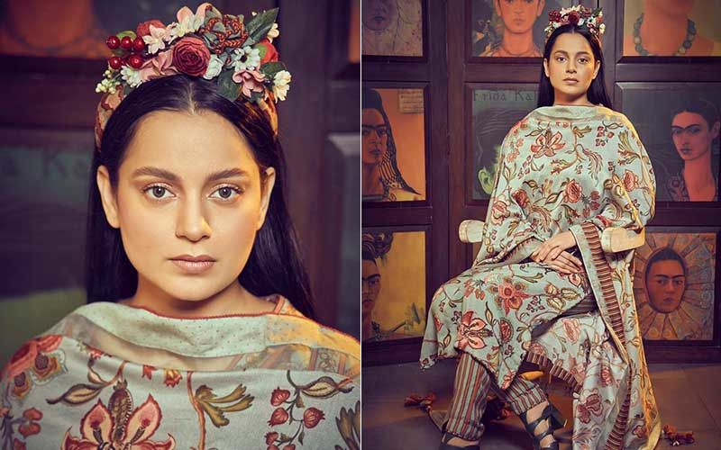 Want To Send Flowers? Call Kangana Ranaut; Lady Teams Floral Print Suit With A Bunch Of Garish Flowers On Her Head