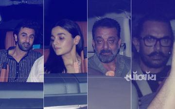 संजू स्क्रीनिंग: एक कार में फिल्म देखने पहुंचे आलिया और रणबीर, संजय दत्त, आमिर खान सहित बॉलीवुड सितारों का लगा जमावड़ा