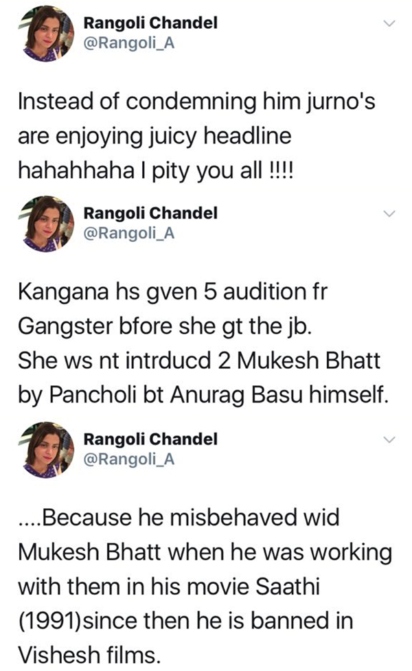 rangoli chandel defends sister kangana on twitter