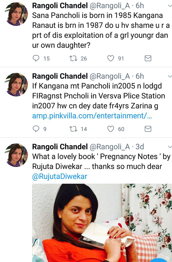 rangoli chandel defends sister kangana ranaut on twitter