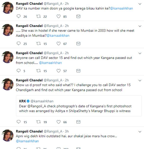 rangoli chandel twitter fight with kamaal r khan