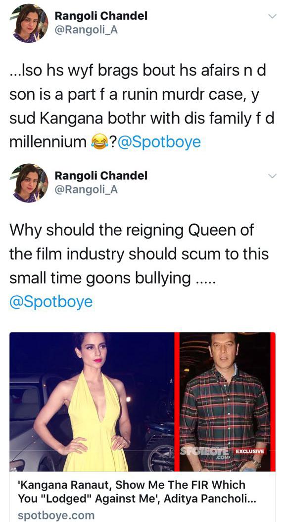 rangoli chandels tweets against
