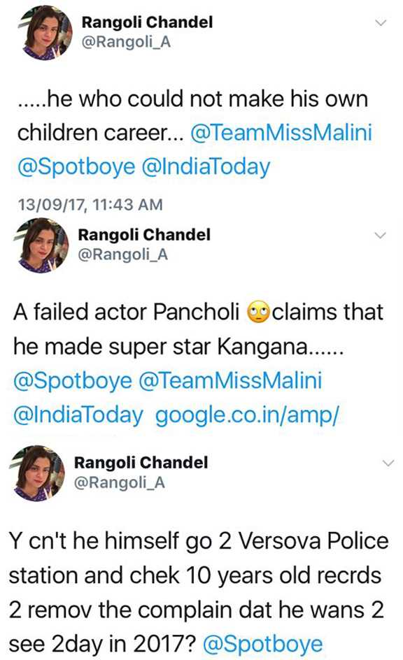 rangoli chandels tweets against aditya pancholi