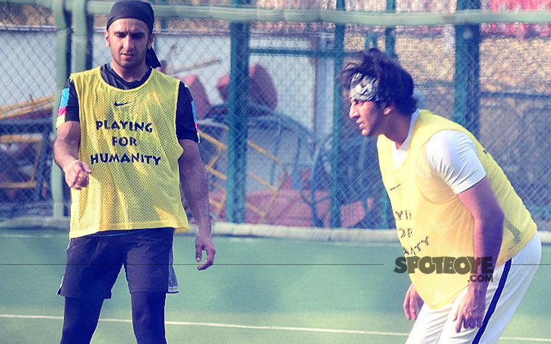 Padmavati's Khilji Ranveer Singh Lets Off Steam Playing Football With Ranbir Kapoor