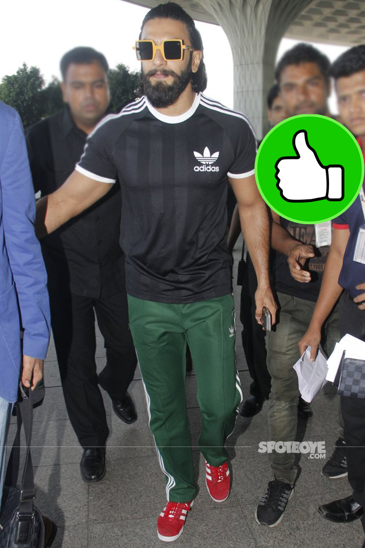 ranveer singh is his new cool attire at the airport