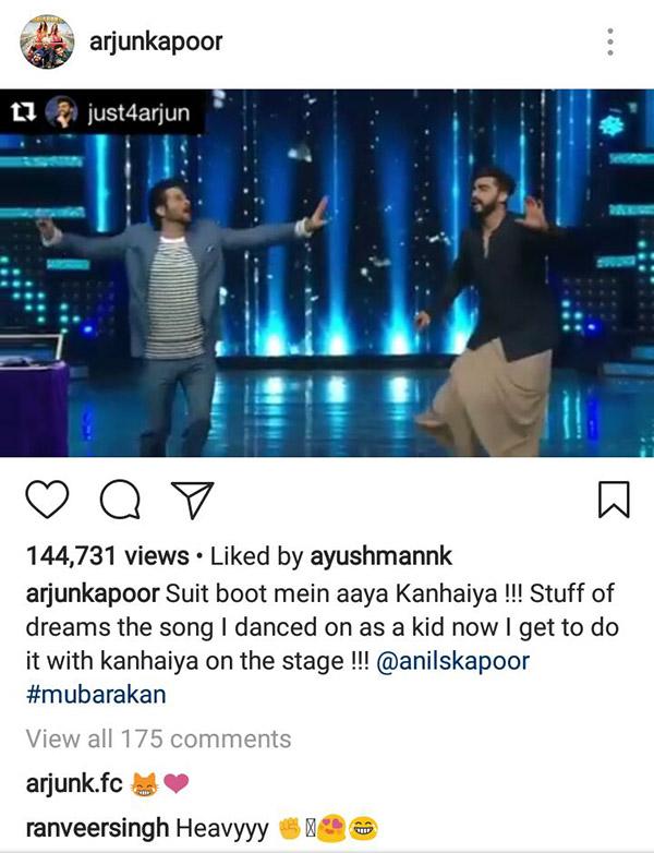 ranveer singh reacts to arjun kapoor and anil kapoor dancing on nach baliye 8