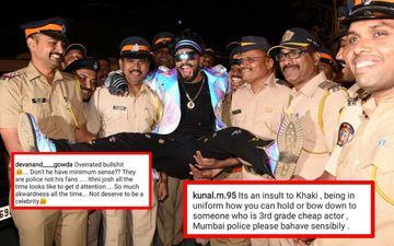 Ranveer Singh Strikes Awkward Pose With Mumbai Police, Gets Trolled