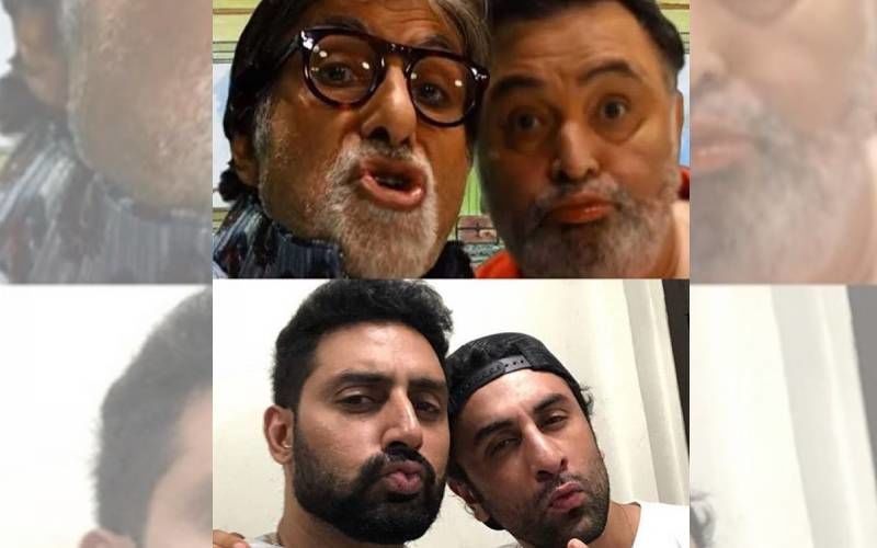 Abhishek Bachchan And Ranbir Kapoor Look Ditto Like Their Fathers Amitabh Bachchan And Rishi Kapoor In This Pouty PIC
