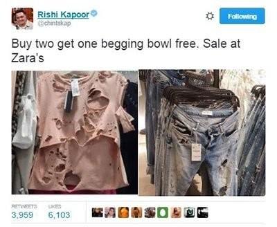 rishi kapoor takes a jibe at zara sales