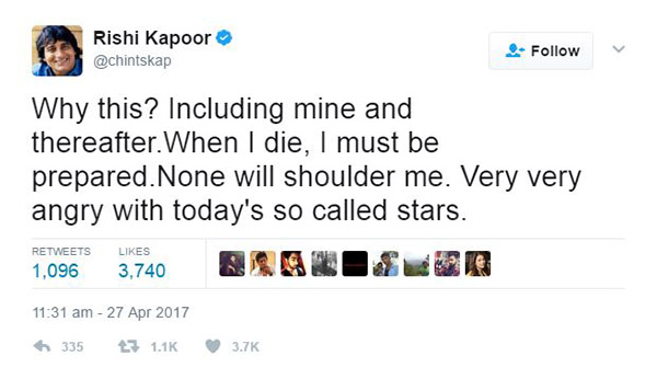 rishi kapoor tweet that even wasn't present for vinod khanna funeral and he need to be prepared for the same