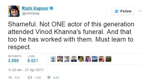 rishi kapoor tweet about how shameful it is that no actors of this generation attended vinod khanna funeral
