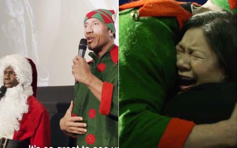Dwayne Johnson Aka Dwelf-Kevin Hart Aka Santa Claus Makes A Fan Cry At A Theatre Playing Jumanji-INSIDE VIDEO