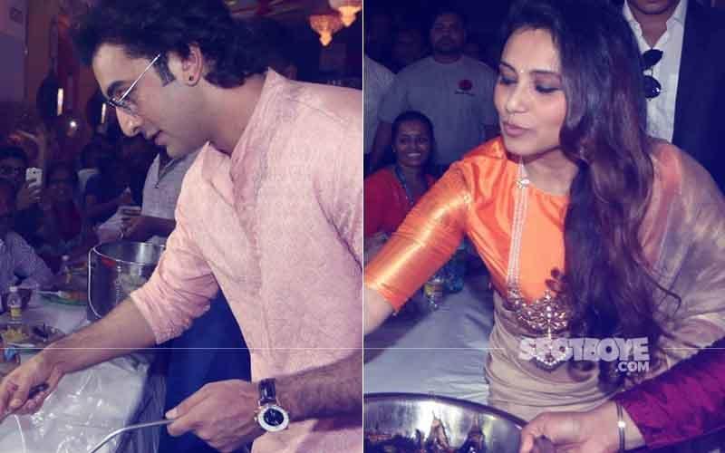 Ranbir Kapoor & Rani Mukerji Serve Bhog At A Durga Puja Pandal