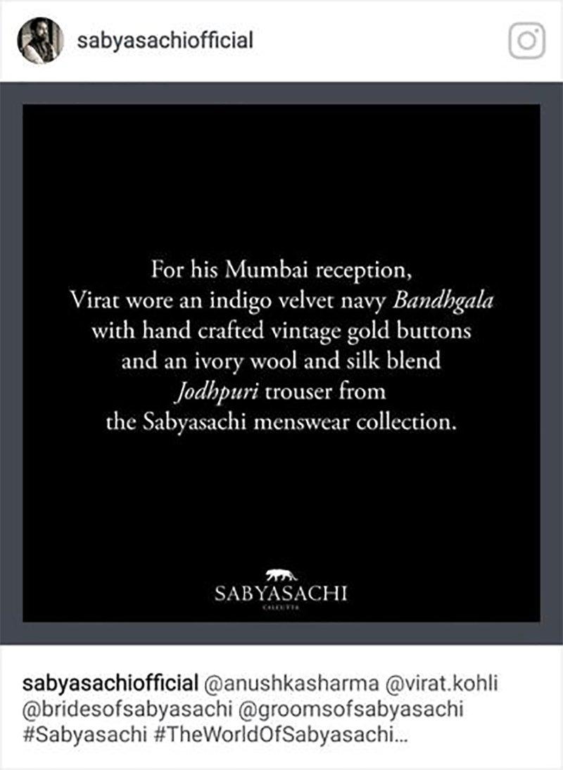 sabyasachis mistaken bandhgala instagram post