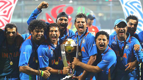 sachin tendulkar and team india after winning the icc world cup 2011