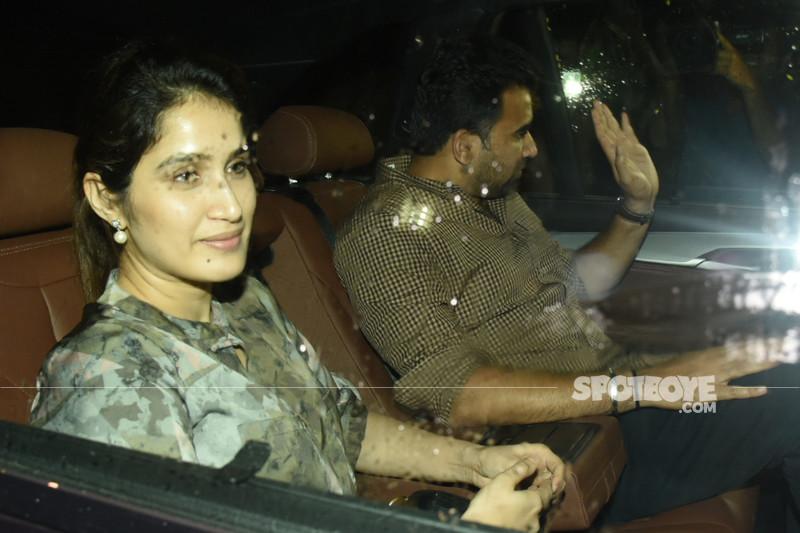 sagarika ghatge with zaheer khan snapped at sanju screening