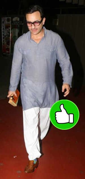 saif ali khan snapped in kurta-pyjama and kholapuri slippers at the mumbai airport