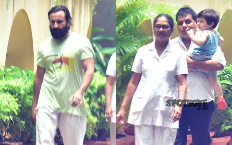 Taimur Ali Khan Clicked With Daddy Saif Ali Khan Outside Their House