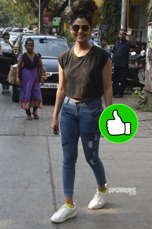 dressed in a black top and jeans saiyami kher was snapped in the city