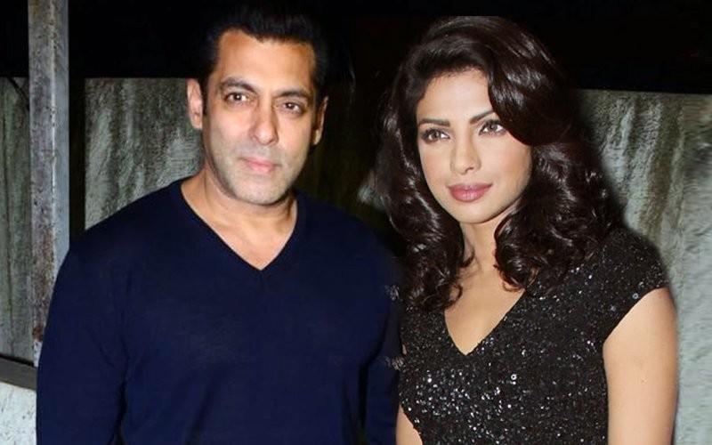 salman khan and priyanka chopra snapped at an event