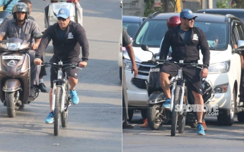 Salman Khan Rides A Cycle From Bandra To Juhu And Back- While His Guards Accompany Him On Mobikes- In Video