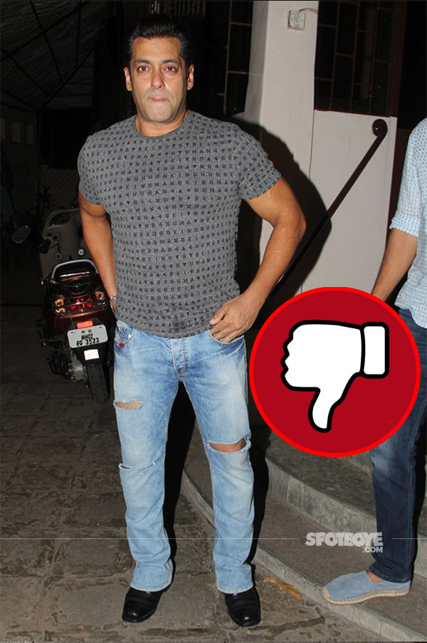 salman khan snapped post tubelight dubbing in a casual gret t-shirt
