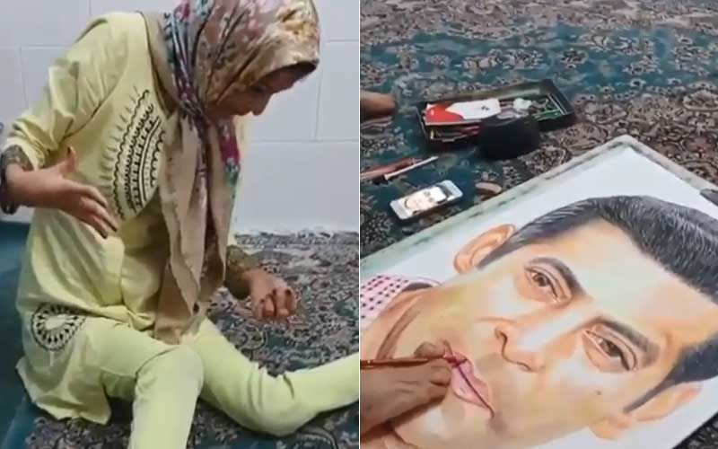 Salman Khan's Fan Girl Paints Him On Canvas With Her Foot, Actor Pens An Overwhelming Note Thanking Her