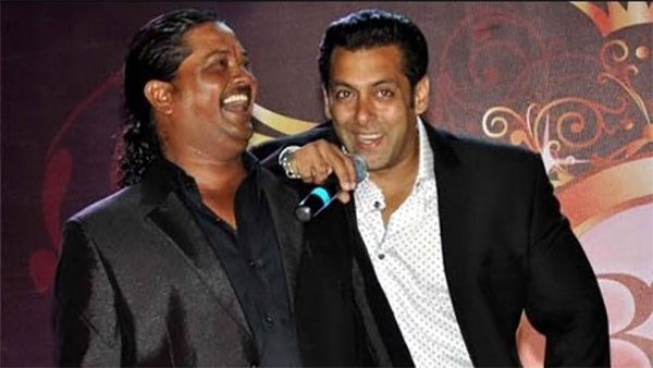 salman khan with his makeup man raju nag
