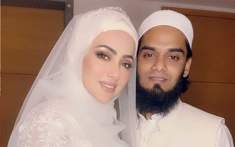 Sana Khan Gives Us A Close Glance Into Her White Gown For Nikkah As She Shares Pictures With Husband Anas