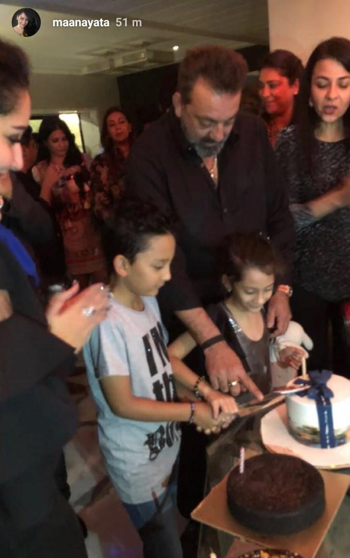 sanjay dutt cuts his birthday cake