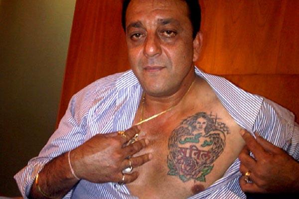 sanjay dutt tattoo of parents sunil and nargis dutt