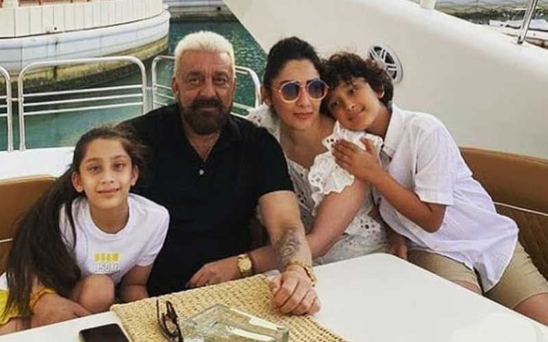 Sanjay Dutt Enjoys Some Family Time With Wife Maanayata And Twins Shahraan-Iqra; His Bleached Hair Grabs All The Attention