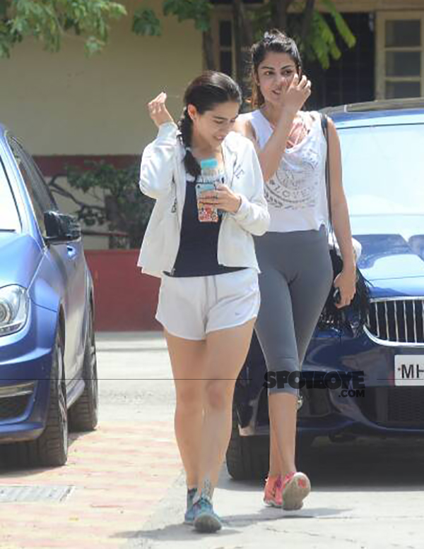 sara ali khan snapped while returning from a gym