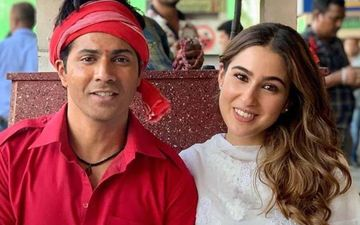 Coolie No 1: Sara Ali Khan Looks Pretty In Pink; Poses With Her 'Hero No 1' Varun Dhawan As They Kickstart Promotions For The Film