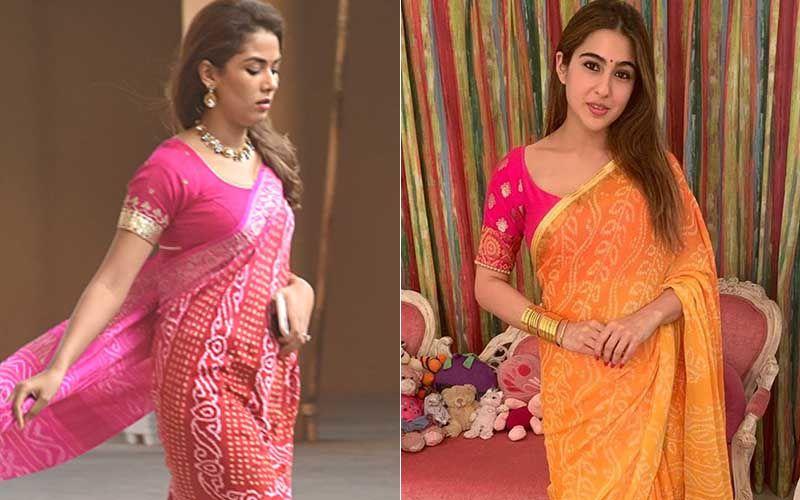 Mira Rajput And Sara Ali Khan's Same-To-Same Bandhani Sarees Get A Thumbs Down; Whose Look Is Shoddier?