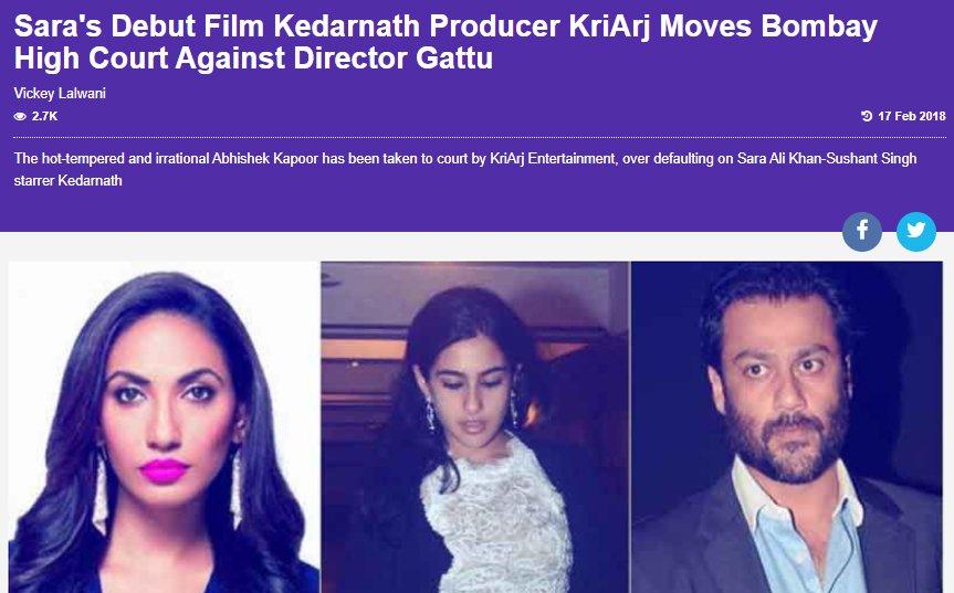 sara s debut film kedarnath producer kriarj moves bombay high court against director gattu