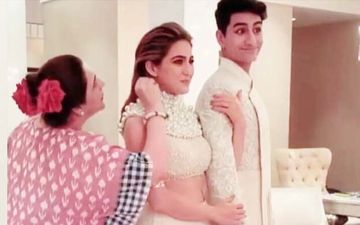 Check out Sara Ali Khan and Ibrahim's Goofy Expressions As Mom Amrita Singh Puts Kala Teeka On The Actress In This BTS Picture
