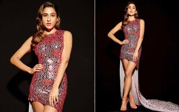 Sara Ali Khan Joins The Glitter Fest, Enthralls In A Pink Shimmery Outfit