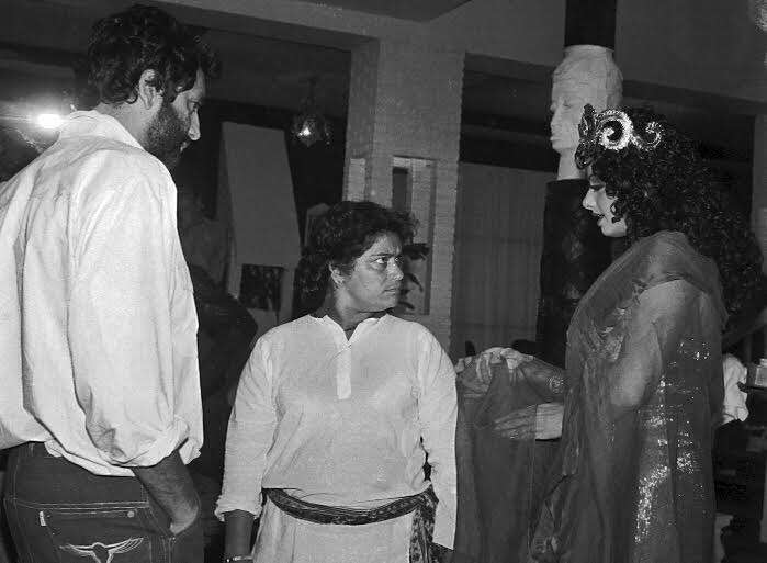 saroj khan teaching sridevi dance shekhar kapur watches them while shooting mr india