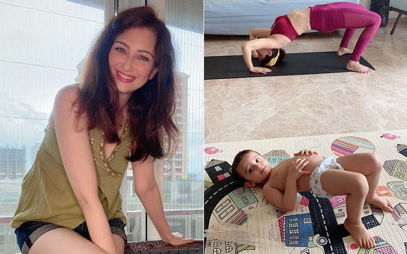 Bhabiji Ghar Par Hain Actress Saumya Tandon's Yoga Session Is Joined By Her Son As He Tries To Imitate Her – Se Pic