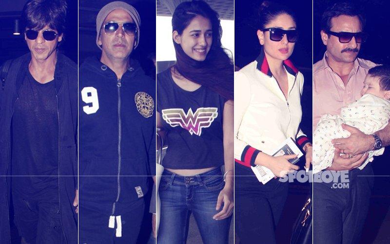 Shah Rukh Khan, Akshay Kumar, Disha Patani, Kareena Kapoor & Saif Ali Khan Spotted At The Airport