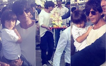 Shah Rukh Khan, AbRam, Suhana & Gauri Say Goodbye To Lord Ganesha