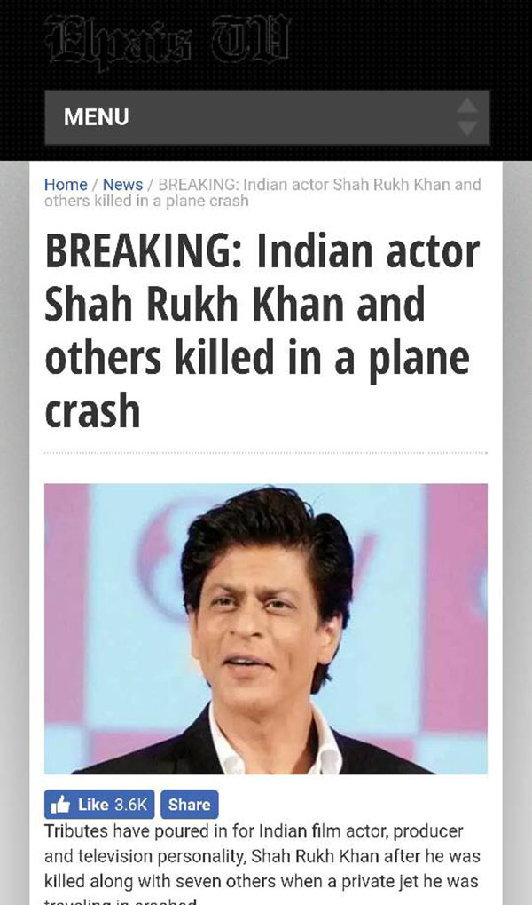 shah rukh khan death hoax published by a french website