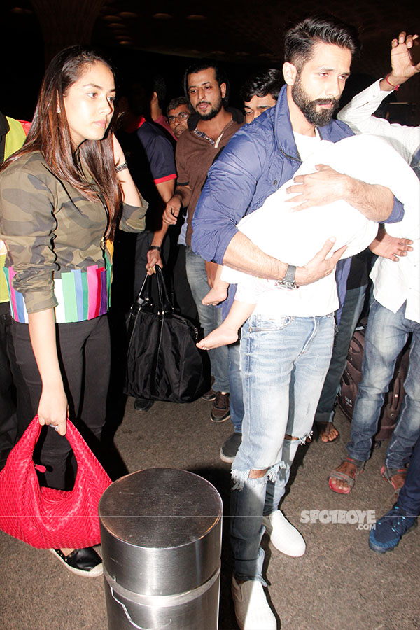 shahid kapoor, mira rajput and misha at the airport leaving got iifa 2017